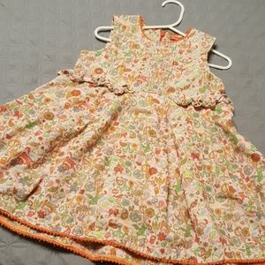Oilily size 3 corduroy pink patterned dress